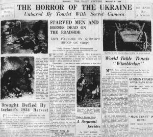 La prima pagina del Daily Express 6 agosto 1934. Immagine tratta da Wikipedia, voce Holodomor (in inglese)