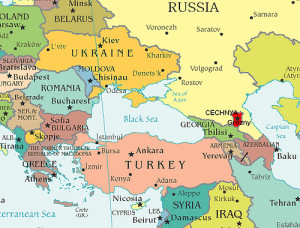 Mappa Turchia e Caucaso