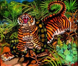 Antonio Ligabue,Tigre assalita dal serpente