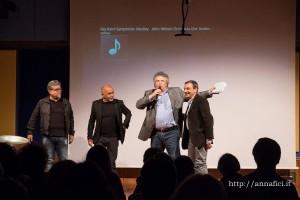 Giuseppe Giallorosso con, alla sua destra l'attore Gigi Borruso, alla sua sinistra Paride Bendassi e Ernesto Maria Ponte