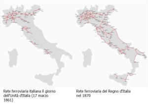 Le ferrovie italiane al momento dell'Unità d'Italia (1861) e nel 1870. Notare la limitata estensione delle ferrovie nel Regno delle Due Sicilie rispetto alla rete di altri Stati pre-unitari. Notare anche l'enorme sforzo fatto dal Regno d'Italia nei primi dieci anni di vita per collegare Nord e Sud, con un'estensione percentualmente enorme anche per il Mezzogiorno, compresa la prima apparizione delle ferrovie in Sicilia