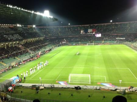 Palermo Juventus Barbera 29 nov 2015 entrata squadre in campo