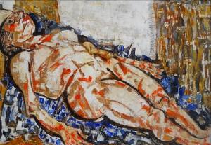 Fausto Pirandello, Nudo Disteso, olio su cartone, 1953, 49,5x72, LGT