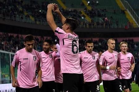 Goldaniga festeggia in Palermo Frosinone 4 1