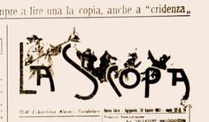 Il frontepsizio del giornale La Scopa. Immagine tratta da www.infoagrigento.it