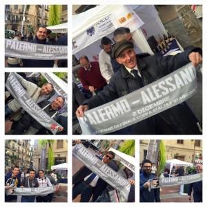 Fans del Palermo e dell'Alessandria all'insegna dell'amicizia grazie all'iniziativa enogastronomica della Camera di Commercio di Alessandria a seguito della squadra di calcio piemontese.