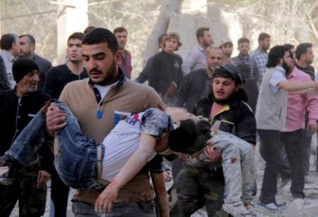 Siria scuola bombardata da russi e Assad vicino Aleppo. Foto tratta dal sito online del The Guardian