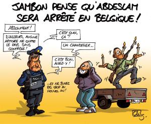 """Vignetta satirica con un terrorista che scappa ai controlli """"travestito"""" da candelabro."""
