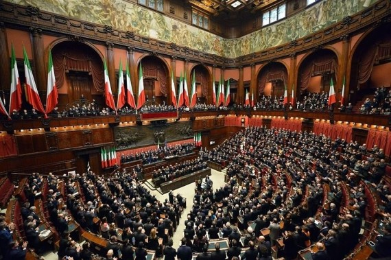 Il Parlamento italiano riunito il giorno dell'elezione di Sergio Mattarella Presidente della Repubblica