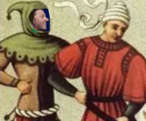 Cecco Angiolieri, o un suo sosia, esisteva già nel medioevo? Analizzando i particolari di un'immagine d'epoca sembrerebbe di sì. Le ricerche continuano...