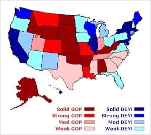 La mappa dei sondaggi Clinton-Trumo al 16 giugno 2016 tratta da Election Projection