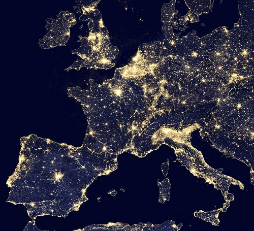 Watching Europe and UK from the moon