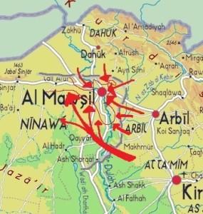 Mappa generica delle operazioni militari con attacchi concentrici per la liberazione di Mosul. La linea di difesa iniziale dell'Isis era quella tracciata in grigio qualche settimana fa. Al 2 novembre è quella tracciata con una sottile linea rossa, a meno di varie sacche di pochi miliziani.