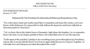 Comunicato della Casa Bianca retta da Trump per il Giorno della Memoria 2017. Oops... La parola ebrei non è nominata.