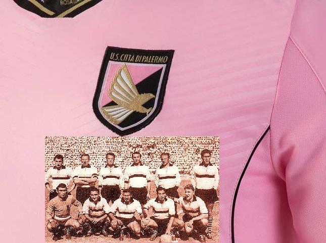 Maglia Palermo 2016-2017 zoom con squadra 1950-51