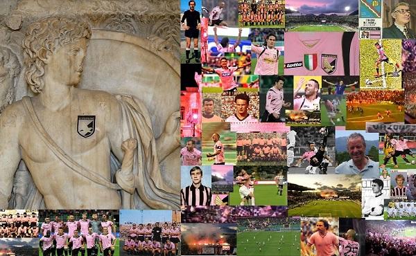 Patrimonio Palermo calcio Achille con scudetto del Palermo e collage storico di Gabriele Bonafede M