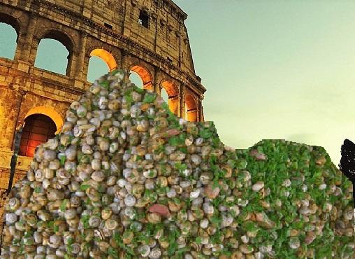 Colosseo con babbaluci fotomontaggio M