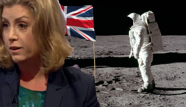 Brexit UK and the moon with Flag M and Ms Mourdant