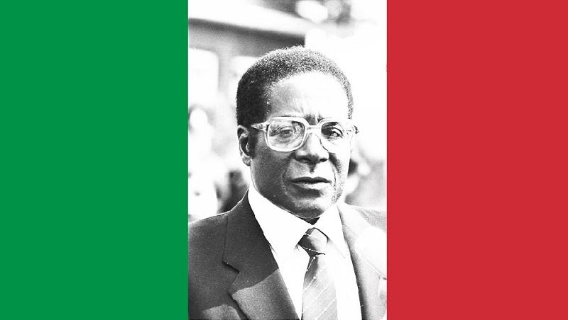 Bandiera italiana con Mugabe presidente Zimbabwe 2 M