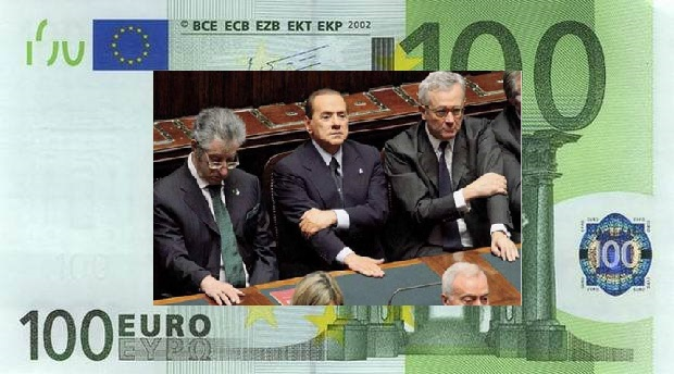 Berlusconi in parlamento con Bossi e Tremonti su banconota 100 Euro