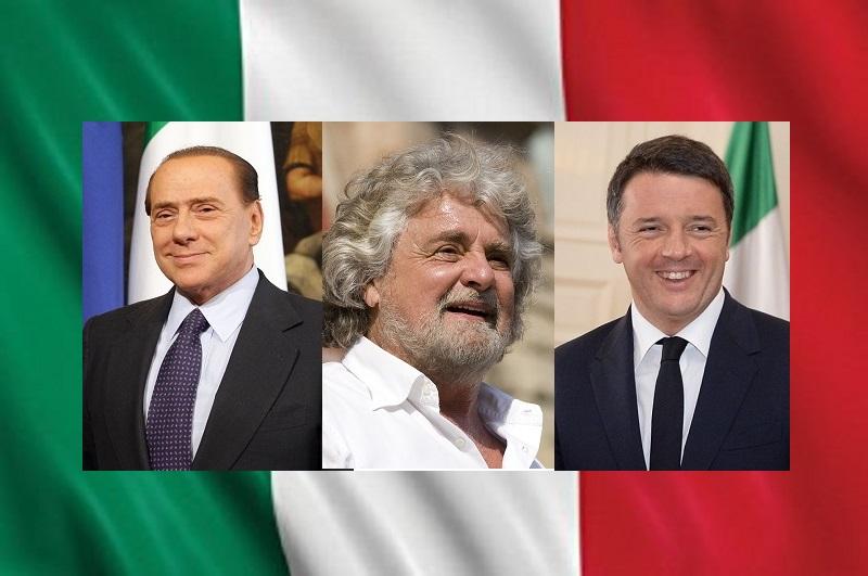 Berlusconi Grillo Renzi su bandiera italiana 2