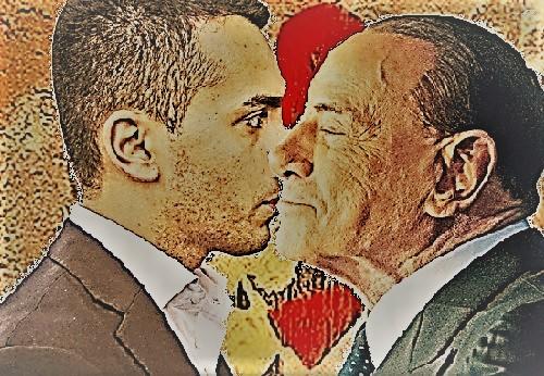 Bacio Di Maio Berlusconi con sfondo murales 2 T