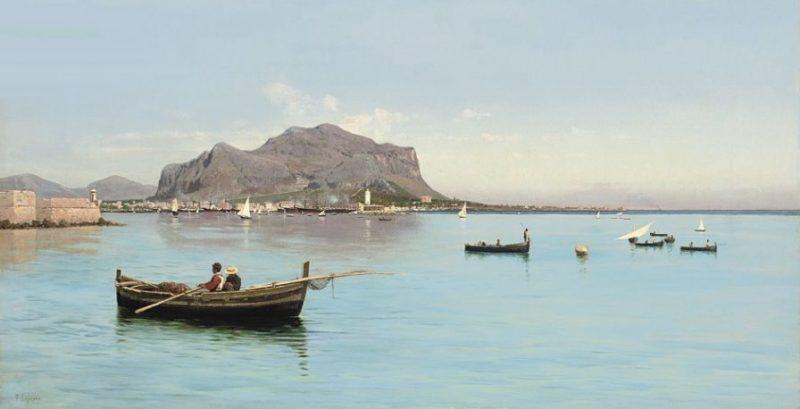 Francesco Lojacono Pescatori davanti a Monte Pellegrino da Wikipedia