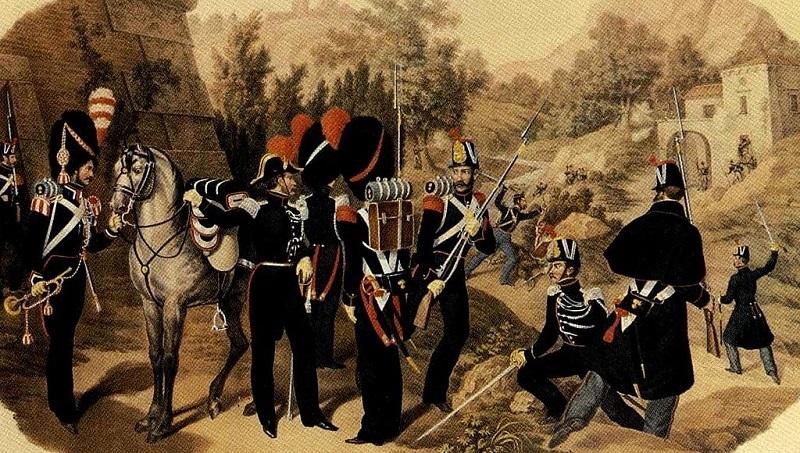 Gendarmeria Reale borbonica a piedi 1850