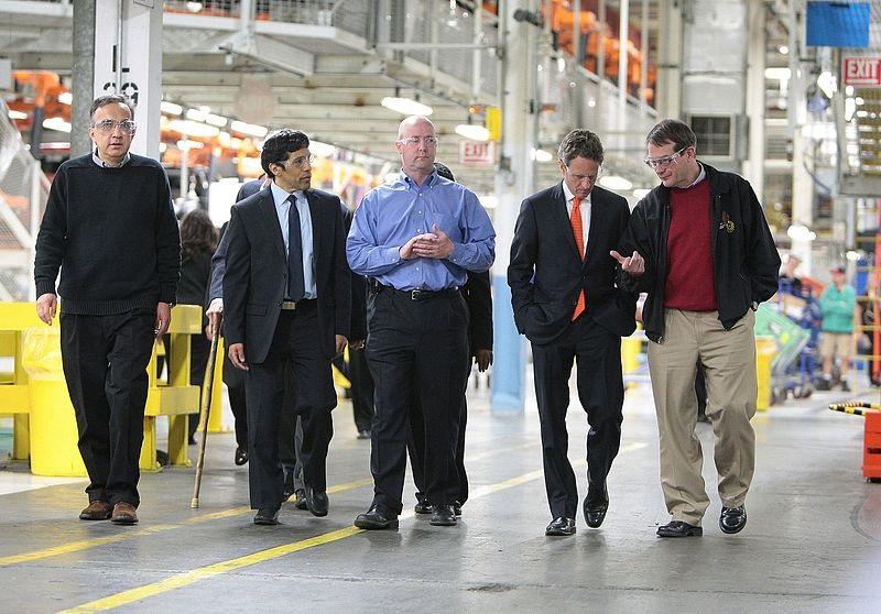 Marchionne a Detroit con il Segretario Usa Geithner