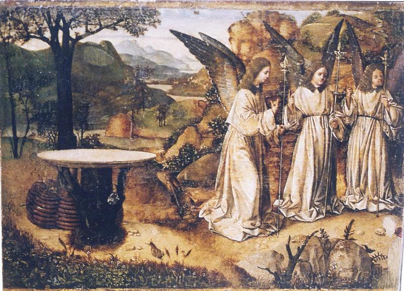 Antonello da Messina Visita dei tre angeli ad Abramo 1465-1468 Tecnica mista su tavola di noce 21,4 x 29,3 cm Museo Civico Reggio Calabria