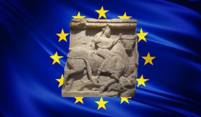 Europa, il mito, su bandiera UE...
