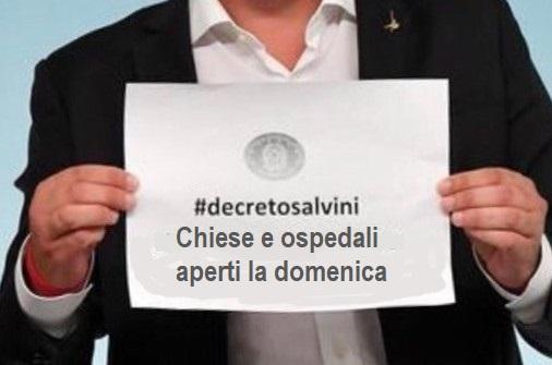 Salvini decreto Lega chiese e ospedali aperti la domenica