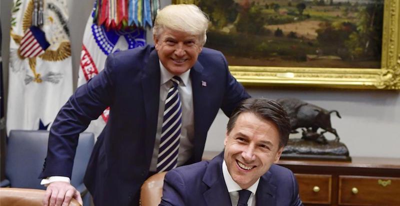 Il presidente del Consiglio Giuseppe Conte e il presidente degli Stati Uniti Donald Trump alla Casa Bianca, Washington DC, 30 luglio 2018 (ANSA / FILIPPO ATTILI)