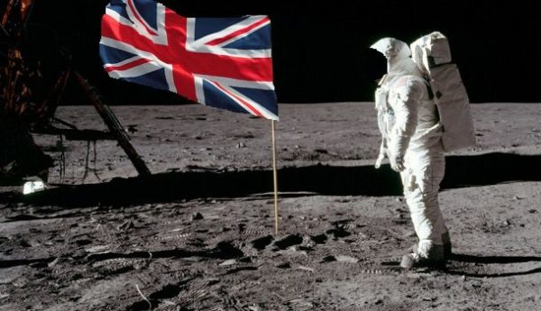 Brexiteers and the moon with UK Flag M