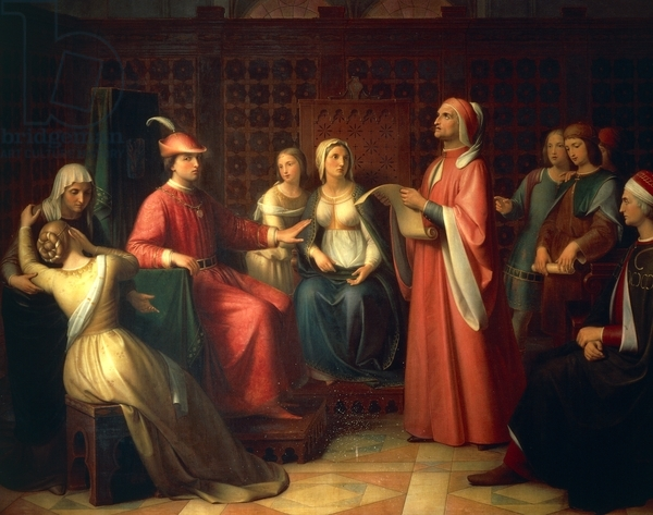 DGA766870 Dante Alighieri (1265-1321) reading Divine Comedy in Guido Novello's court, 1850, by Andrea Pierini (1798-1858), oil on canvas, Italy, 19th century; (add.info.: Florence, Palazzo Pitti (Pitti Palace) Galleria D'Arte Moderna (Gallery Of Modern Art)); De Agostini Picture Library / G. Nimatallah; FRENCH PUBLISHING RIGHTS NOT AVAILABLE;  out of copyright
