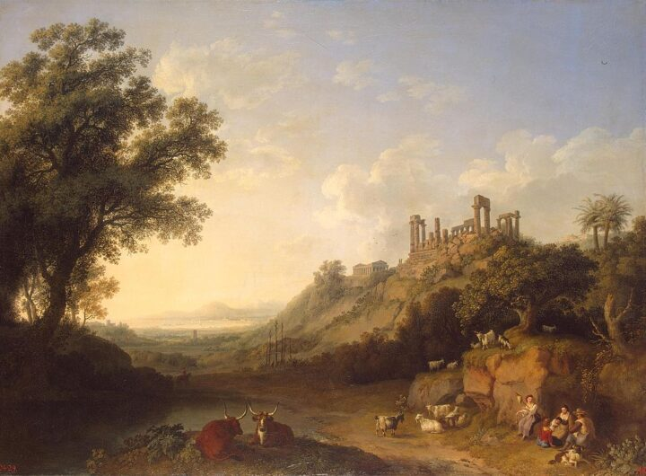 Valle dei Templi ai tempi di Goethe ad Agrigento dipinto di Jacob Philipp Hackert 1778