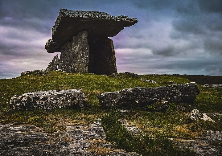 A dinosaur disbelieving of dinosaurs Poulnabrone dolmen
