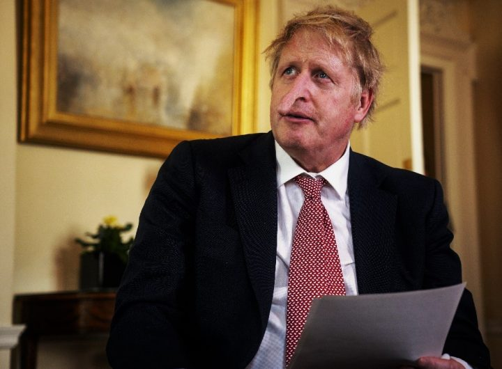 In this handout photo issued by 10 Downing Street, British Prime Minister Boris Johnson speaks from 10 Downing Street praising NHS staff in a video message, after he was discharged from the hospital a week after being admitted with persistent coronavirus symptoms.