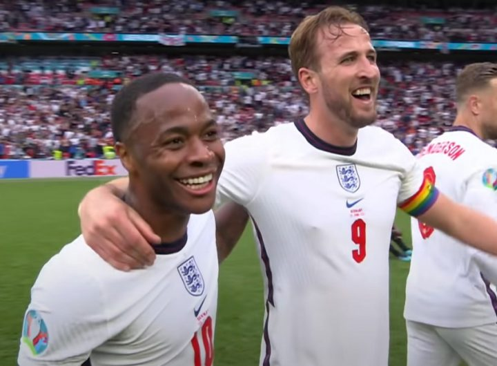 England Euro 2020 Sterling and Kane with pride flag 2 M